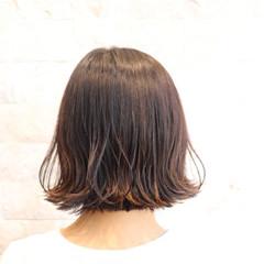 内巻き 切りっぱなし ワンカール ナチュラル ヘアスタイルや髪型の写真・画像