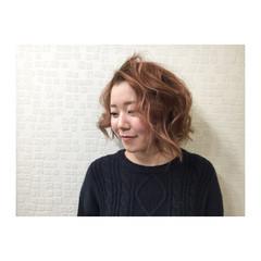 ハイライト フェミニン ボブ ゆるふわ ヘアスタイルや髪型の写真・画像