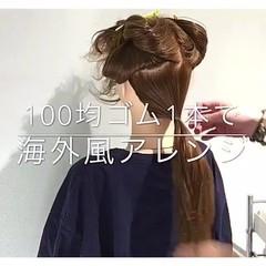 エレガント 簡単ヘアアレンジ アウトドア ロング ヘアスタイルや髪型の写真・画像