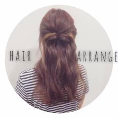 ハーフアップ 波ウェーブ ヘアスタイルや髪型の写真・画像