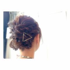 ナチュラル ロープ編み ヘアピン ヘアアクセ ヘアスタイルや髪型の写真・画像