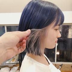 ネイビー ボブ ベージュ ブルー ヘアスタイルや髪型の写真・画像