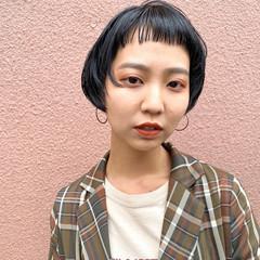 ストリート ショートヘア ショートボブ 切りっぱなしボブ ヘアスタイルや髪型の写真・画像