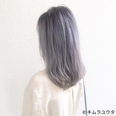 アッシュ ストレート 秋 セミロング ヘアスタイルや髪型の写真・画像