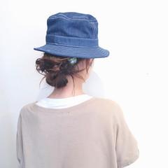 お団子 夏 ヘアアレンジ ロング ヘアスタイルや髪型の写真・画像