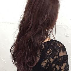 ピンク セミロング 暗髪 パープル ヘアスタイルや髪型の写真・画像