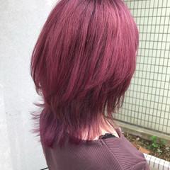 ミディアム ブリーチ ガーリー ピンクバイオレット ヘアスタイルや髪型の写真・画像