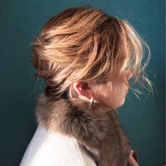 セミロング まとめ髪 秋 編み込み ヘアスタイルや髪型の写真・画像