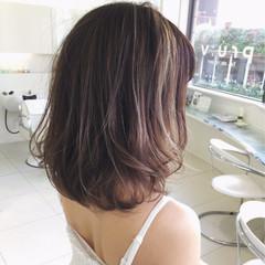 秋 ハイライト ミディアム アッシュ ヘアスタイルや髪型の写真・画像