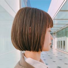 コントラストハイライト ナチュラル ショートボブ ミニボブ ヘアスタイルや髪型の写真・画像