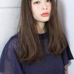 ブラウン 暗髪 セミロング ナチュラル ヘアスタイルや髪型の写真・画像