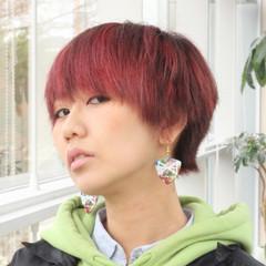 ショート マッシュ ブリーチオンカラー ハンサムショート ヘアスタイルや髪型の写真・画像