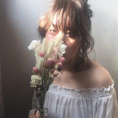 セミロング ガーリー ミディアム 色気 ヘアスタイルや髪型の写真・画像