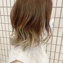 グラデーションカラー ブリーチカラー ナチュラル ミディアム ヘアスタイルや髪型の写真・画像
