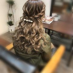 結婚式 ハーフアップ フェミニン ヘアアレンジ ヘアスタイルや髪型の写真・画像