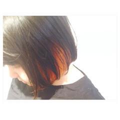 モード インナーカラー ピンク レッド ヘアスタイルや髪型の写真・画像
