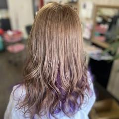 #インナーカラー インナーカラーパープル インナーカラー セミロング ヘアスタイルや髪型の写真・画像