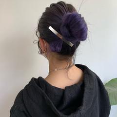 フェミニン ポニーテールアレンジ トワイライトパープル ロング ヘアスタイルや髪型の写真・画像