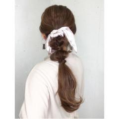 可愛い 簡単ヘアアレンジ ロング スカーフアレンジ ヘアスタイルや髪型の写真・画像