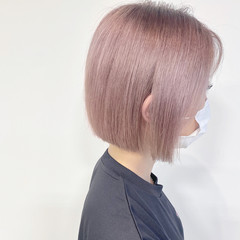 ピンクベージュ 透明感カラー ラベンダー ナチュラル ヘアスタイルや髪型の写真・画像