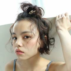 ウェットヘア 簡単ヘアアレンジ ショート ボブ ヘアスタイルや髪型の写真・画像
