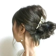 ロング セルフヘアアレンジ ゆるふわ お団子 ヘアスタイルや髪型の写真・画像