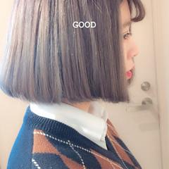 大人ハイライト ボブ ホワイトハイライト コントラストハイライト ヘアスタイルや髪型の写真・画像