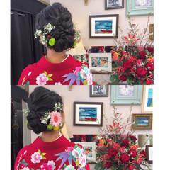 ヘアアレンジ 袴 ミディアム ヘアスタイルや髪型の写真・画像