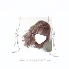 ゆるふわ ヘアアレンジ ガーリー セミロング ヘアスタイルや髪型の写真・画像