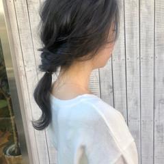 ヘアアレンジ セミロング セルフアレンジ フェミニン ヘアスタイルや髪型の写真・画像