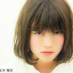 アッシュ マルサラ ボブ シースルーバング ヘアスタイルや髪型の写真・画像