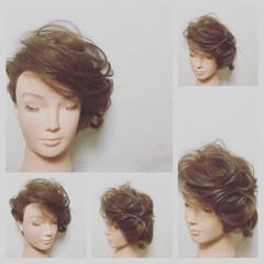 簡単ヘアアレンジ セミロング ヘアアレンジ ショート ヘアスタイルや髪型の写真・画像