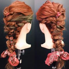 編み込み デート 波ウェーブ ヘアアレンジ ヘアスタイルや髪型の写真・画像