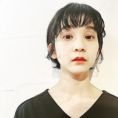 パーマ ショート モード 黒髪 ヘアスタイルや髪型の写真・画像