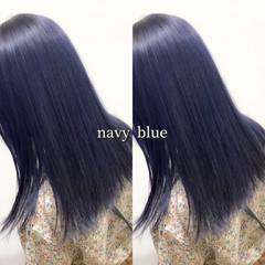 ネイビーブルー ネイビーカラー コリアンネイビー ヘアカラー ヘアスタイルや髪型の写真・画像
