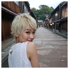ヘアアレンジ ショート スポーツ ハイトーン ヘアスタイルや髪型の写真・画像