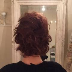 ゆるふわ ヘアアレンジ 波ウェーブ ボブ ヘアスタイルや髪型の写真・画像