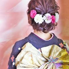 ヘアアレンジ ボブ 成人式 編み込み ヘアスタイルや髪型の写真・画像