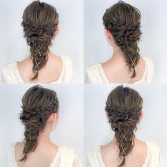 ゆるふわ セミロング エレガント 編み込み ヘアスタイルや髪型の写真・画像
