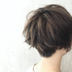 外国人風 大人女子 パーマ ショート ヘアスタイルや髪型の写真・画像