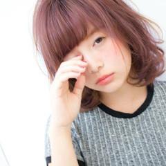 ピュア ガーリー フェミニン ミディアム ヘアスタイルや髪型の写真・画像