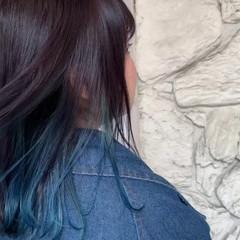 ネイビーブルー ミディアム インナーブルー ストリート ヘアスタイルや髪型の写真・画像