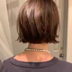 外ハネボブ 大人かわいい ショートボブ 切りっぱなしボブ ヘアスタイルや髪型の写真・画像
