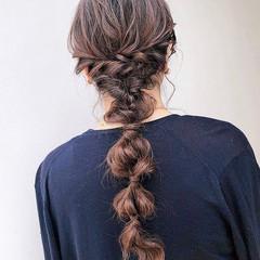 編みおろし 結婚式ヘアアレンジ ナチュラル ロング ヘアスタイルや髪型の写真・画像