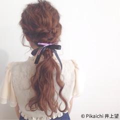 ローポニーテール 簡単ヘアアレンジ ラフ ショート ヘアスタイルや髪型の写真・画像