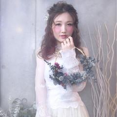 セミロング ブライダル 結婚式 ヘアアレンジ ヘアスタイルや髪型の写真・画像