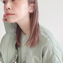 ミディアム ブリーチ必須 ピンク ナチュラル ヘアスタイルや髪型の写真・画像