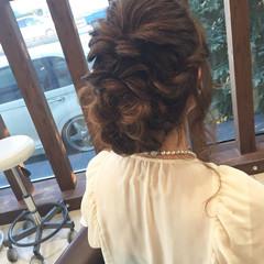 ヘアアレンジ 結婚式 編み込み セミロング ヘアスタイルや髪型の写真・画像