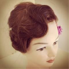 ヘアアレンジ ブライダル コンサバ セミロング ヘアスタイルや髪型の写真・画像