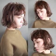 ウェーブ ボブ 外国人風 パーマ ヘアスタイルや髪型の写真・画像